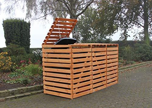 Promadino Mülltonnenbox Vario V für 3 Tonnen, honigbraun
