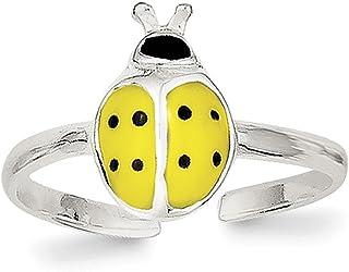 Lex & Lu Sterling Silver Enameled & Polished Lady Bug Toe Ring