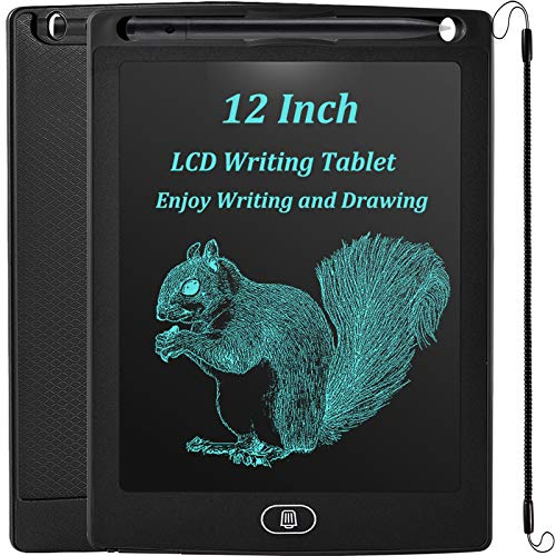JOEAIS LCD Schreibtafel 12 Zoll, Löschbare Elektronisch Schreibtafel Digital Zeichenbrett Zeichenblock Doodle Board, Geschenk für Kinder Erwachsene Home School Office(Schwarz)