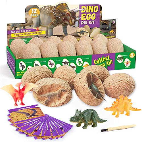 PowerKing 3D Dino Fossil Egg Digging Kit, 12 PCS Unique Dino Eggs and Discover 12 Cute Assorted Dinosaur, Novelty Excavation Toy for Party Favor Easter Egg Hunt Science Play (dig Dinosaur)
