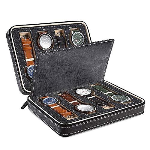 HNWNJ Caja de reloj de tipo libro con cerradura, caja de reloj, caja de joyería, caja de almacenamiento, bandeja de pulsera y cristal superior de cuero artificial