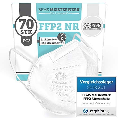 BEMS MEISTERWERK FFP2 Maske VERGLEICHSSIEGER 2021 CE Kennzeichnung - 70x FFP2 Masken (NR) - Inkl. 2x Clip für höchsten Tragekomfort - 5-lagige Premium Atemschutzmaske