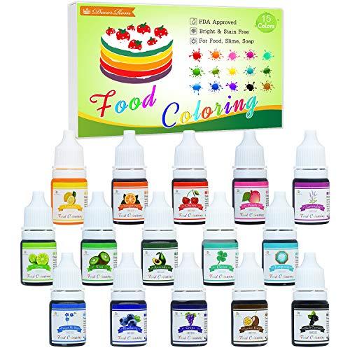 Lebensmittelfarbe - 15 Flüssige Lebensmittel Farben Set für Kuchen Backen, Kekse, Macaron - Hochkonzentrierte Food Coloring für Kuchendekoration, DIY Slime, Kunsthandwerk Einfärben - 6ml jeder