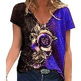 VCAOKF Camiseta de manga corta para mujer con estampado floral y estampado de flores, estilo informal, tallas S-5XL azul XL