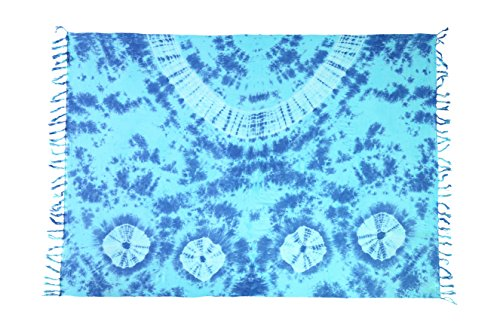 Ciffre Sarong Pareo Wickelrock Strandtuch Tuch Wickeltuch Handtuch Bunte Sommer Muster Gratis Schnalle Schließe (Türkis Blau BT1)