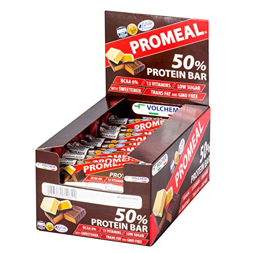 Volchem | Promeal Protein 50% | 20 barrette da 60 g | Gusto Dark Chocolate