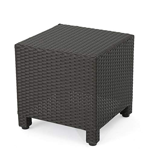 GDF Studio Pueblo Outdoor Dark Brown Wicker Side Table