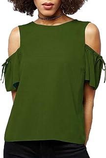 FRPE Women Summer Short Sleeve Lace Up Plus Size Chiffon Cold Shoulder Top T-Shirt Blouse