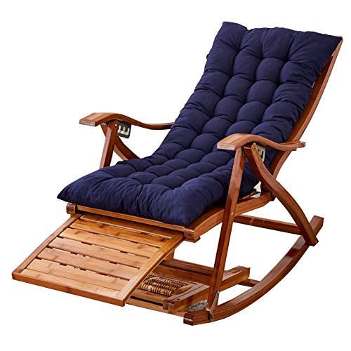 XEWNEGTZI Folding Sun Lounger Adjustable Bamboo Rocking Chair, With Cotton Pad And Retractable Footrest, Portable Outdoor Garden Swimming Pools Leisure Chair, Load 200kg(Color:Chair + blue cushion)