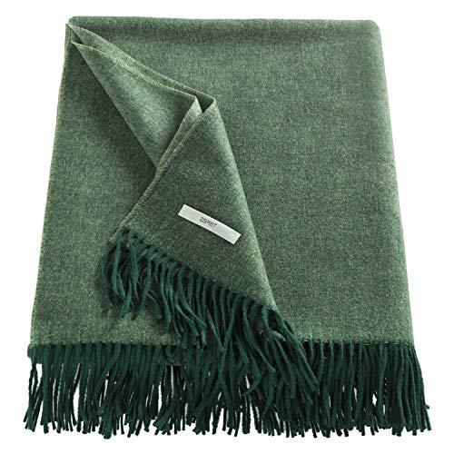 ESPRIT Melange Sofadecke dunkelgrün • weiche Kuscheldecke • Tagesdecke 150x200 cm • Pflegeleichte Couchdecke • 100% Polyacryl