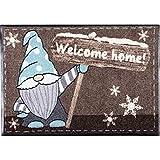Salonloewe Fußmatte Weihnachten Wichtel Knud Welcome Home Schmutzfangmatte waschbar rutschfeste Fussmatte aussen + innen 50x75 cm braun-ice