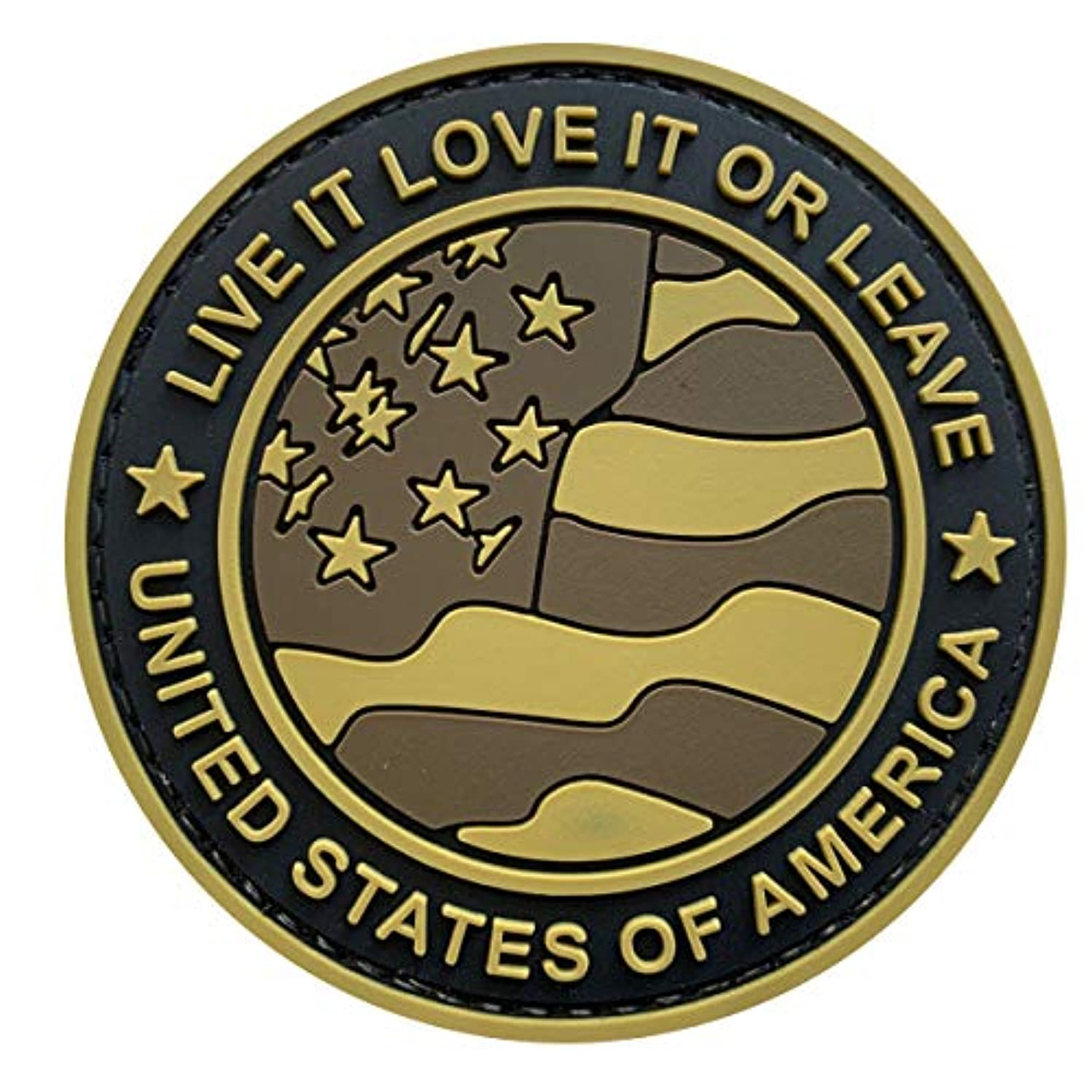 "Uuken Live It Love It or Leave Military American Flag 3"" Tactical Morale Patch Hook Backing for Military Uniforms (YLLL-TAN)"