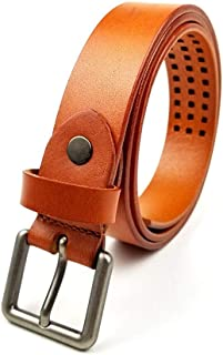 MYCHOMEUU New Ladies Retro Wild Pin Buckle Belt Fashion Decorative Leather First Layer Leather Belt (Color : Khaki, Size : 90-105cm)