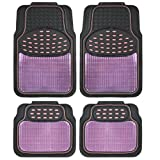 BDK Metallic Rubber Floor Mats for Car SUV & Truck - Semi Trimmable, 2 Tone Color Heavy Duty Protection(Pink/Black) - MT614PKAMw1