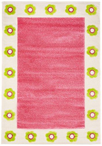 Little Helper Hypoallergener Hochfloriger und Hochwertiger Teppich - Design Blumenbeet, 160 x 230 cm, rosafarben