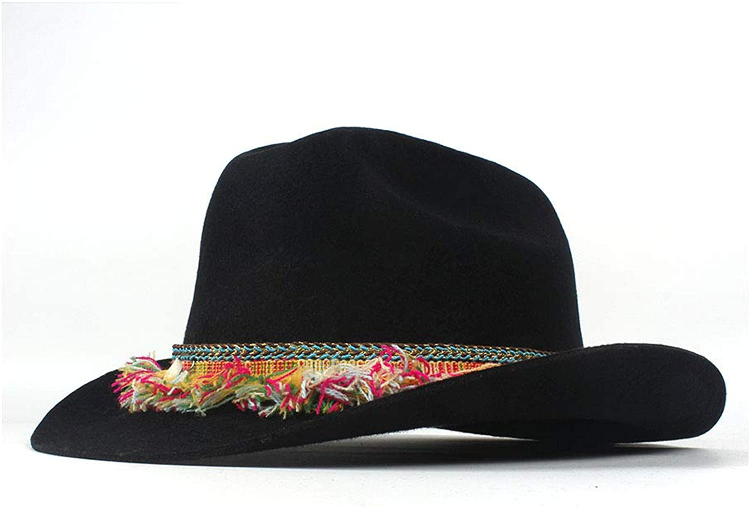 Cool Cowboy hat Spring Autumn Winter Ethnic Style Hat 100% Wool Wide Brim Cowboy Western Cowgirl Bowler Hat Fedora Cap colorful Fringe Belt Jazz Hat Elegant Cowgirl Hat