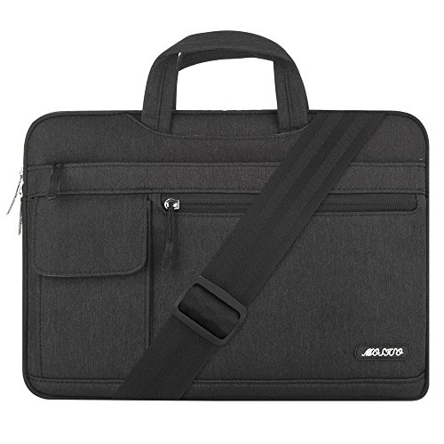 MOSISO Funda Protectora Compatible con 13-13.3 Pulgadas MacBook Pro/MacBook Air/Ordenador Portátil, Bolsa de Hombro Blanda Maletín Bandolera de Estilo Flap, Negro