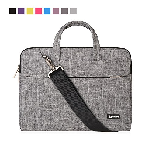 Qishare 15 15.6 16 inch Laptop Case Laptop Shoulder Bag, Multi-functional Notebook Sleeve Carrying Case With Strap for Lenovo Acer Asus Dell Lenovo Hp Samsung Ultrabook Chromebook 15(Gray Lines)