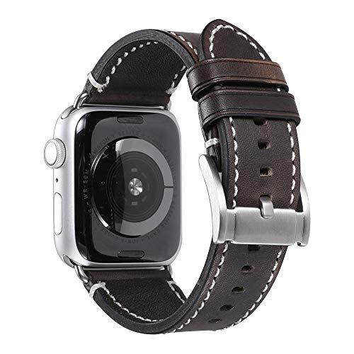 iStrap Compatible/Replacement for Apple Watch Cinturino 38mm 40mm 42mm 44mm vera cinturino di ricambio cinturino bracciale Compatible for iwatch Series 4 3 2 1 (42mm/44mm, Dark Brown/Silver Adapter)