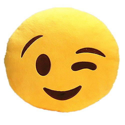 LI&HI Emoji Lachen Emoticon Kissen Polster Dekokissen Stuhlkissen Sitzkissen Rund(Wink)