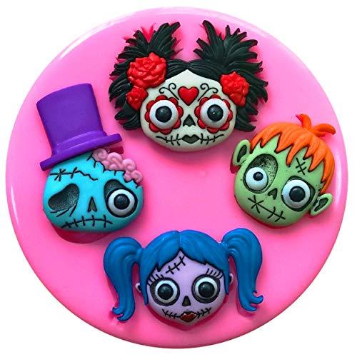 Halloween Zombies mexicain Tête de mort Gothique Emo Punk Moule Moule en silicone pour décoration de gâteaux gâteaux en pâte à sucre Fairie Blessings