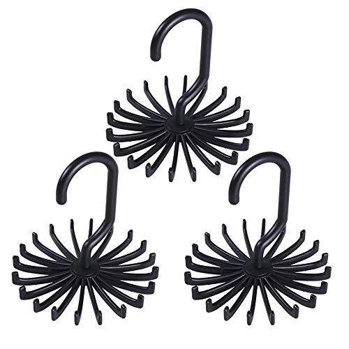 NBSXR 3er-Pack aktualisiert Twirl Tie Rack Gürtelhalter, 360 Grad drehbar 20 Haken, Mehrzweck-Organizer, ideal für Closet Organizers