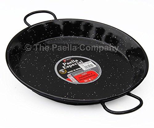 La valenciana Poêle à Paella en Acier Inoxydable émaillé, Compatible Induction, avec anses en céramique, Noir, 32 cm