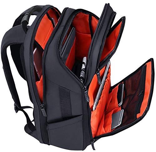 [Nani] リュック メンズ ビジネスリュック 防水 スクエアリュック 大容量 PCバッグ 通勤 MAR (ブラック(裏地:オレンジ))
