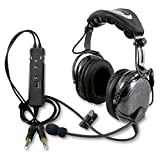 Rugged Air RA980 Carbon Fiber General Aviation Pilot Headset with Active Noise Reduction Featuring Bluetooth Connectivity, Leather Ear Seals and Full Flex Boom Mic