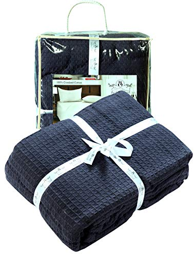 100%Soft Premium Cotton Thermal Blanket in Waffle Weave 102x90 King Navy Color,All Season Blanket,Breathable Cotton Thermal Blanket,Light Thermal Blanket,Perfect for Layering Any Bed-Provides Comfort