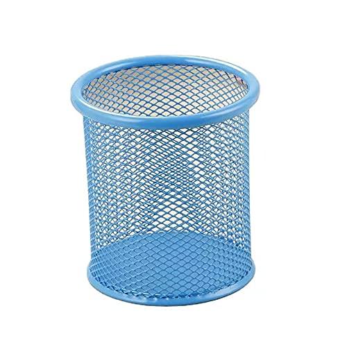オフィス デスクオーガナイザー ペン立て シンプルでクリエイティブ 金属メッシュ ペンスタンド (ペン立て) 丸型 青色