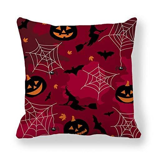Funda de almohada de Halloween, funda de cojín decorativa con araña/luna/murciélago para fiestas de Halloween suministros (relleno no incluido)