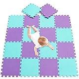 meiqicool Tapis Puzzle Jeux pour Enfants Puzzles de Sol en Mousse EVA 18 Fragments Dimension Globale env 1,62m² Jouet décoration de Chambre de bébés Vert Violet 0811