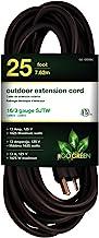 Go Green Power GG-13725BK 16/3 25' Heavy Duty Extension Cord, Black