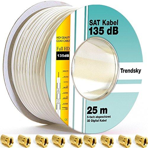 25m 135db Sat Kabel + 10 F-Stecker Koaxialkabel 5 Fach abgeschirmt Koax Antennenkabel Satellitenkabel für DVB-S / S2 DVB-C und DVB-T BK Anlagen / Full / Ultra HD / 4K / 8K