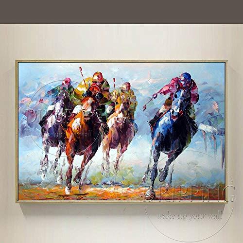 ZHUAIBA Al Óleo Pintada A Mano Decorativo El equipo de pintores expertos apoya directamente la pintura al óleo de polo de alta calidad sobre lienzo pintado a mano polo deporte pintura al óleo para e