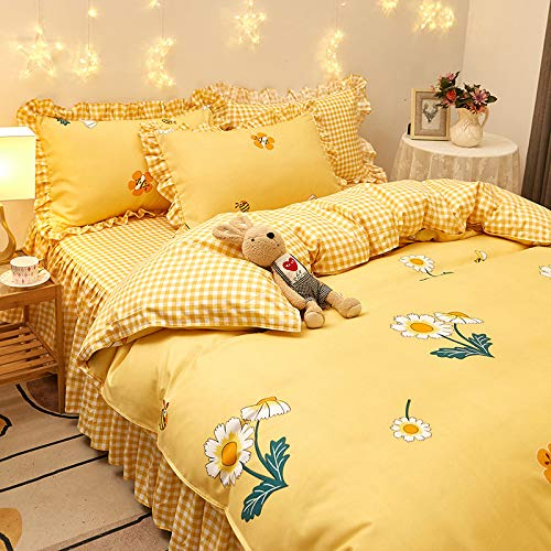 unknow Bed Skirt, Thick Four-Piece Suit, Twill Brushed Four-Piece Bed Linen, Princess Style Fresh Cotton Bed Skirt