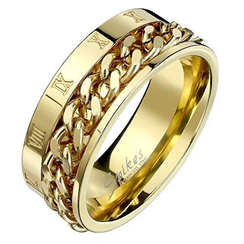 Mianova Herren Band Ring Titan Poliert mit Ketten Spinner Römischen Zeichen Bandring Herrenring Biker Rocker Größe 70 (22.3) Gold
