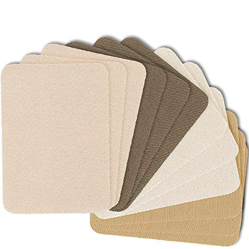 """ZEFFFKA Premium Quality Fabric Iron-on Patches Inside & Outside Strongest Glue 100% Cotton Shades of Brown Beige Khaki Repair Decorating Kit 12 Pieces Size 3"""" by 4-1/4"""" (7.5 cm x 10.5 cm)"""