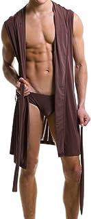 Men's Bathrobe Hooded Sleeveless Open Front Sleepwear Pajamas Silky Fabric Belt Robes