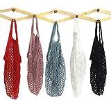 Mmbox–5borse in cotone a rete portatili/riutilizzabili/lavabili, borsa ecologica per la spesa a manico lungo, grigio blu/nero/beige/rosa