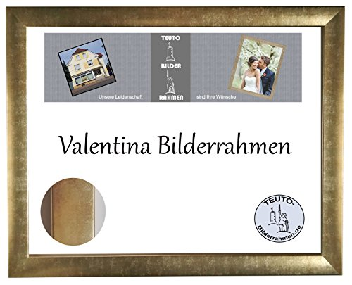 Valentina Holzwerkstoff Bilderrahmen Modern Abgerundet 90 x 170 cm Farbe Wählbar 170x90 cm, Hier Farbe: Gold Antik mit Acrylglas Antireflex 2mm