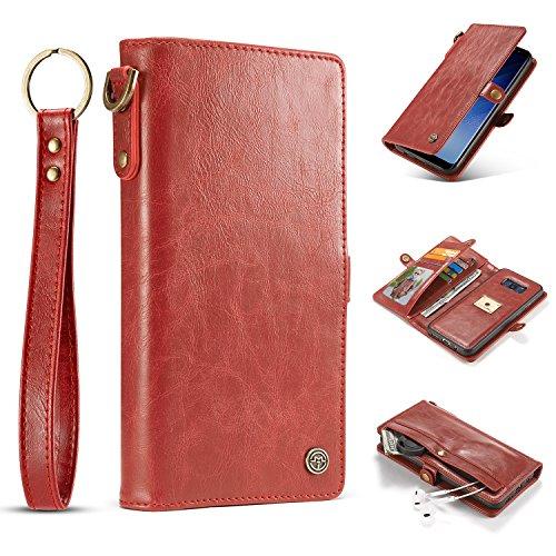 Qilo TPU + PC con Correa, Cuero Handmake 2-en-1 Multi-Funcional Estuche Protector Retro, for la Caja de la Carpeta de Samsung Galaxy S8 Carcasas y Fundas (Color : Red)