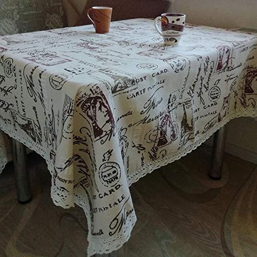 JSANSUI Classroom decoration Simple Cotton Linen Tablecloth Antique Style Tablecloth Restaurant Kitchen Decoration Coffee Table Square Cloth Lace Tablecloth (Size:90x90cm)