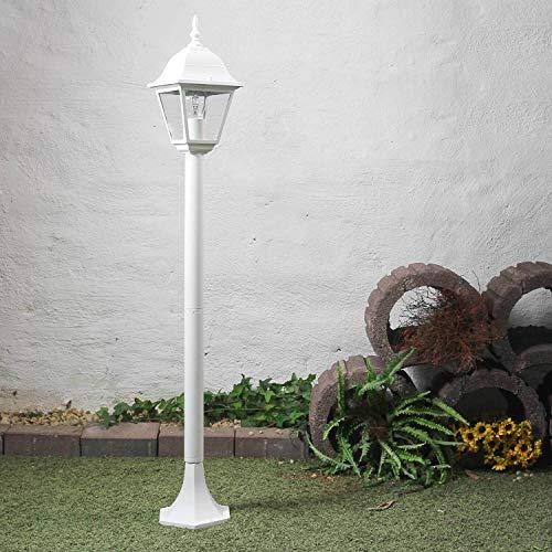 Rustikale Stehleuchte in weiß E27 bis 60 Watt 230V Gartenleuchte aus Aluminium Echtglas Wegleuchte Wegelampe für Terrasse Garten Garten Weg Terrasse Lampen Leuchte außen Beleuchtung