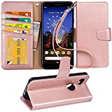 Arae Pixel 3A Case, PU Leather Wallet case for Google Pixel 3A with Wrist Strap and ID&Credit Cards Pocket - Rosegold
