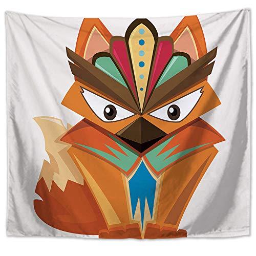 YUANOMWJ Tapiz De Pared,Animal Étnico Zorro Colorido Individual, Tapiz De Mandala Hippie Hippy Celestial Indio Trippy Bohemio Tapices, 130X150Cm