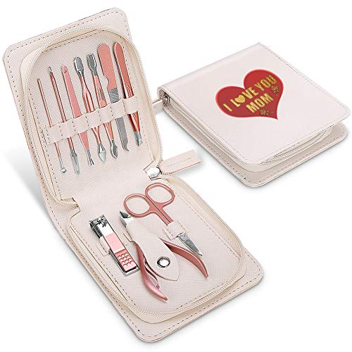 AIWOGEP 10 PCS Manicure Set Professional Stainless Steel Nail Clippers Sets Pedicure Kit, Nail Scissors Grooming Kit with PU Leather Travel Case, Fingernail and Toenail Clippers