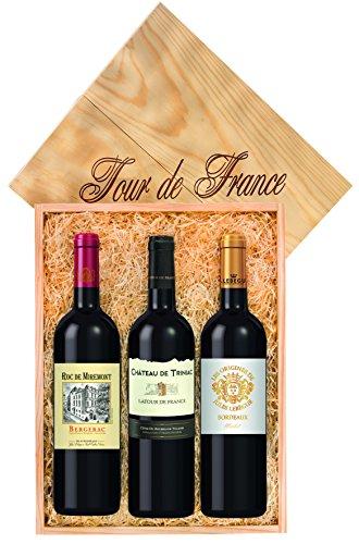 Wein-Geschenkset: Je 1 Fl. 0,75 l Jules Lebègue Merlot, Bordeaux, Roc de Miremont, Bergerac, Château der Triniac, Latour de France