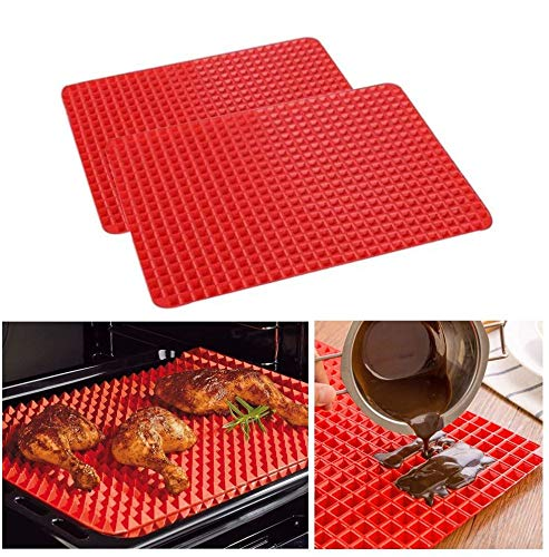 Pyramid Pan Non Stick Fat Reducing Silicone Baking Mat Oven Cooking Baking Tray Sheets (2pcs)